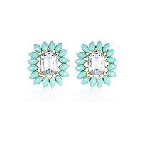 Aqua petal surround gem stone stud earrings