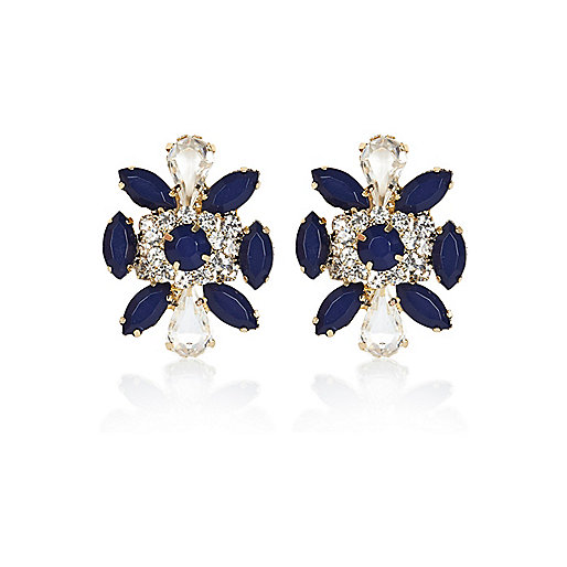 Navy gem stone oversized stud earrings