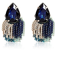 Blue colour block tassel stud earrings