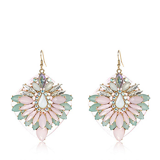 Pink jelly statement earrings