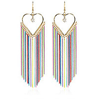 Gold tone multicoloured chain heart earrings