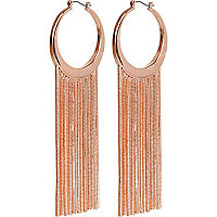 Rose gold tone chain tassel hoop earrings