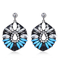 Blue gem stone jelly earrings
