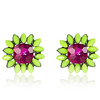 Bright pink oversized stud earrings