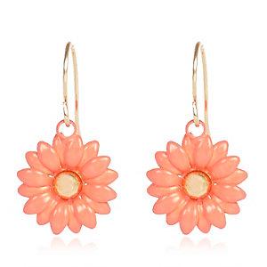 Orange daisy drop earrings