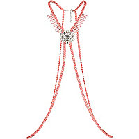 Pink curb chain gem stone body harness