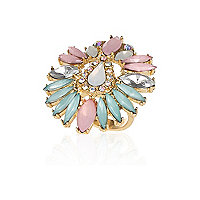 Light pink gem stone statement ring