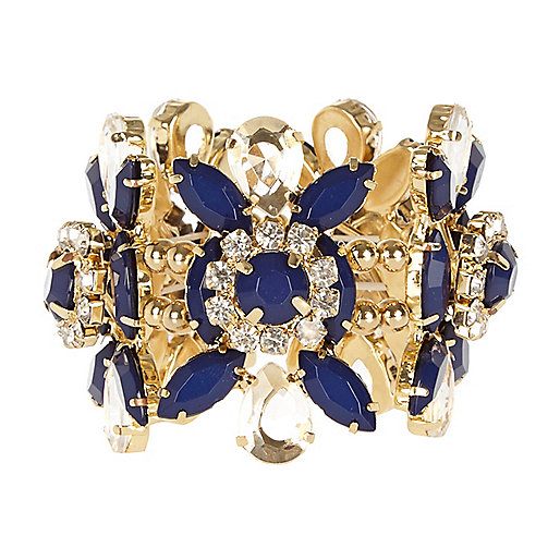 Navy gem stone flower stretch bracelet