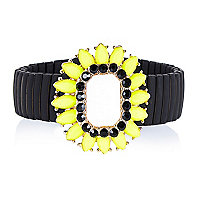 Black fluro gem stone stretch bracelet
