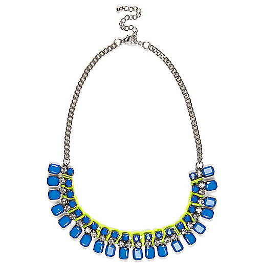 Blue gem stone short statement necklace