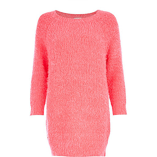 Bright pink fluffy jumper dress