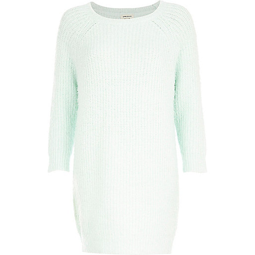 Light green fluffy jumper dress