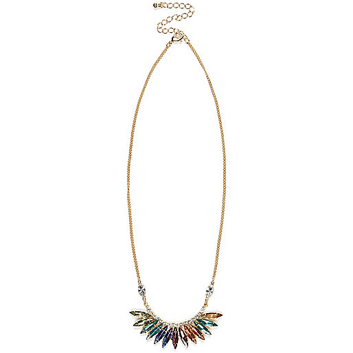 Gold tone rainbow stone necklace