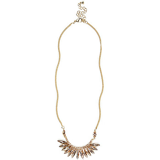 Gold tone gem stone short necklace