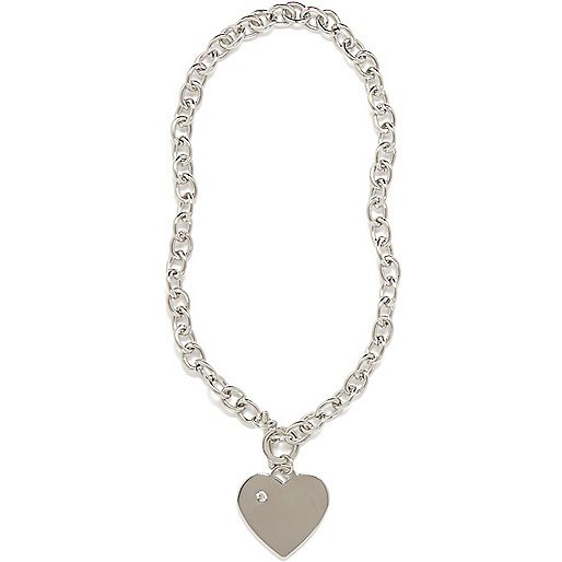 Silver tone T bar heart necklace