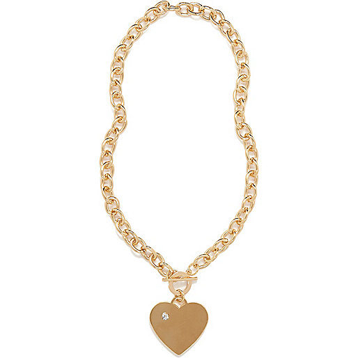 Gold tone T bar heart necklace