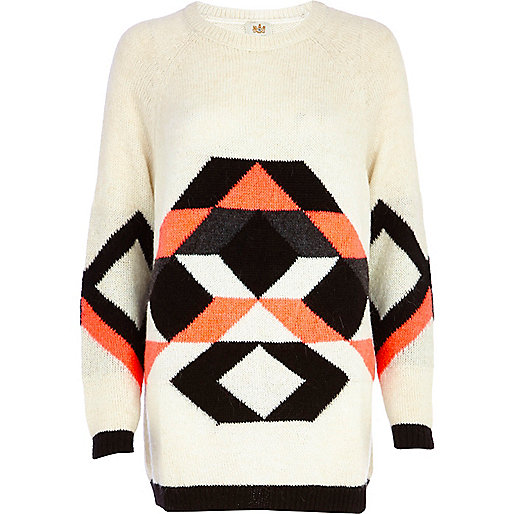 Cream mohair colour block geometric tunic