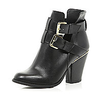 Black cut out cuban heel ankle boots
