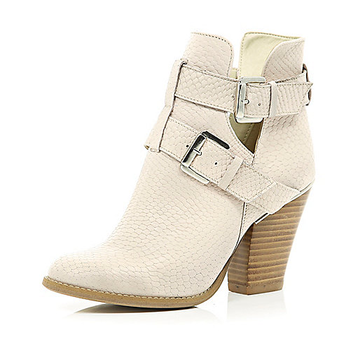Light pink snake cut out ankle boots