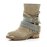 Beige multi strap diamante biker boots