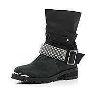 Black multi strap diamante biker boots