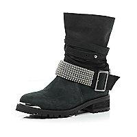 Black multi strap diamante biker boots