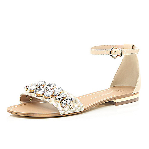 Cream gem stone two-strap sandals
