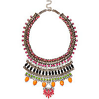 Multicoloured statement gem stone necklace