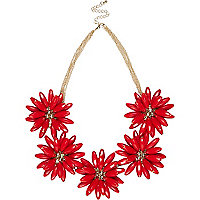 Red clustered gem stone flower necklace