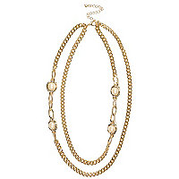 Gold tone double chain faux pearl necklace