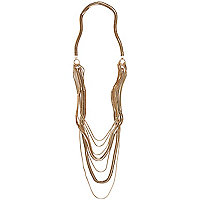 Gold tone slinky layered chain necklace