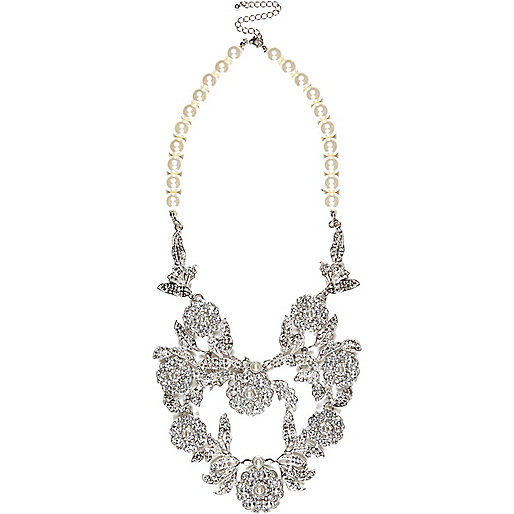 Faux pearl encrusted statement necklace