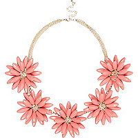 Coral 3D flower short statement necklace