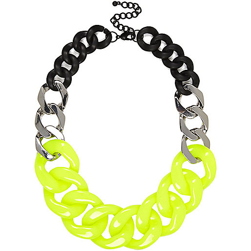 Yellow colour block curb chain necklace