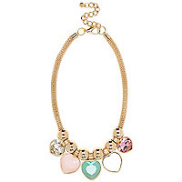 Gold tone multicoloured heart stone necklace