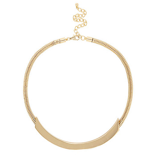 Gold tone slinky bar necklace