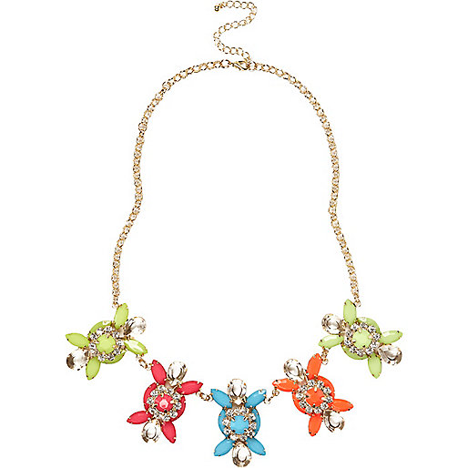 Multicoloured gem stone statement necklace