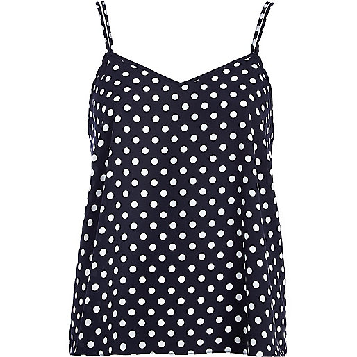 Navy polka dot V neck cami top