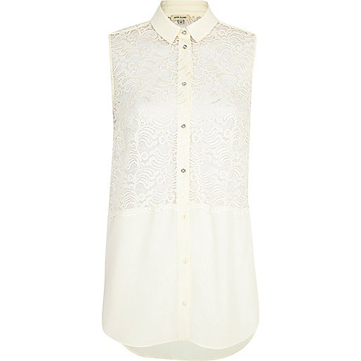 Cream lace panel sleeveless shirt