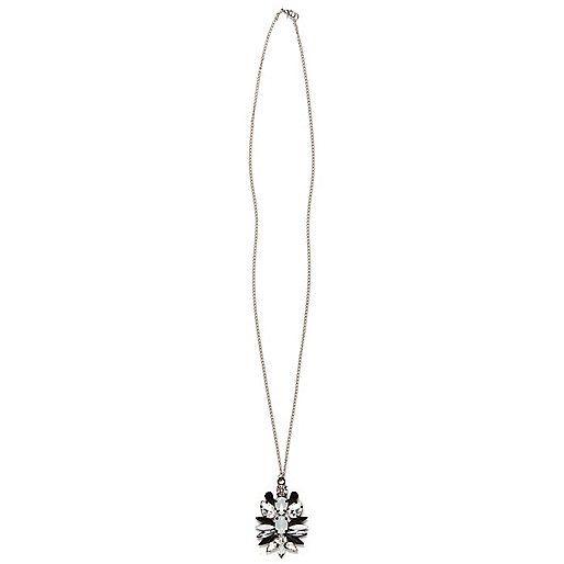 Silver tone clustered gem stone necklace