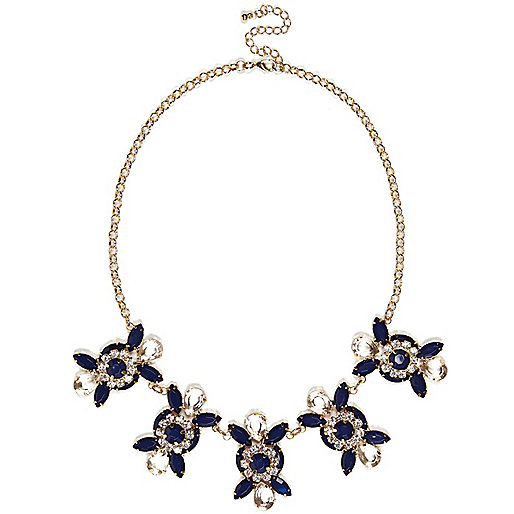 Navy gem stone statement necklace