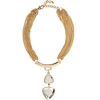Gold tone gem stone drop necklace
