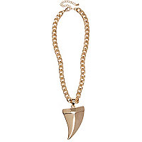Gold tone chunky tusk necklace