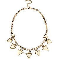 Cream triangle drop short statement necklace