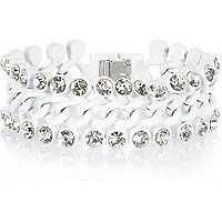 White encrusted curb chain bracelet