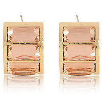 Light pink baguette stone half hoop earrings