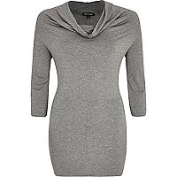 Grey marl cowl neck top