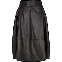 Black leather A-line midi skirt