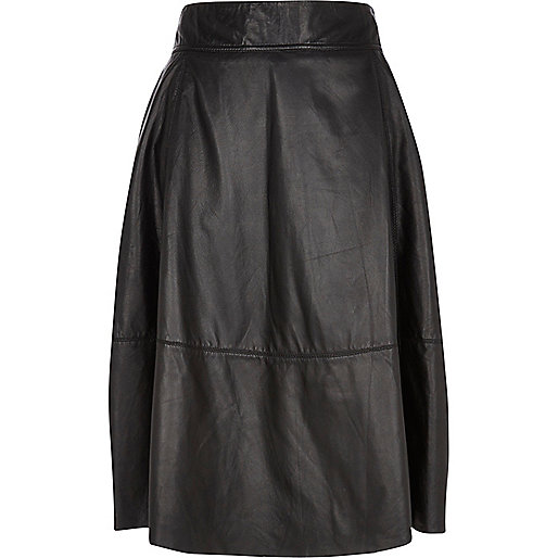 Black leather A line midi skirt