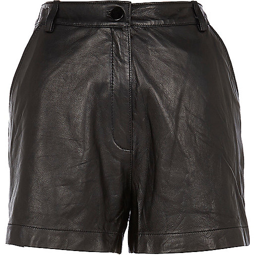 Black high waisted leather shorts